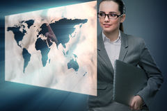 The businesswoman with laptop in global business concept Royalty Free Stock Photography