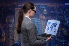 The businesswoman with laptop in global business concept Royalty Free Stock Photos