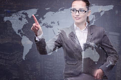 The businesswoman with laptop in global business concept. Businesswoman with laptop in global business concept Stock Images