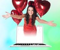 Businesswoman in laptop Royalty Free Stock Photos