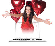 Businesswoman in laptop Royalty Free Stock Images