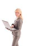 Businesswoman with laptop in hands Royalty Free Stock Photo