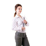 Businesswoman with a laptop in her hands full length isolated on Stock Photos