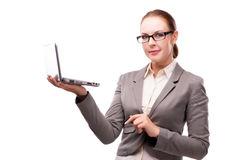 The businesswoman with laptop isolated on white Royalty Free Stock Photography