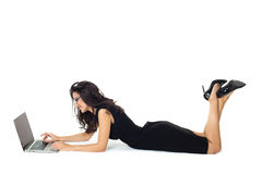 Businesswoman with laptop. Isolated on a white background Stock Photography