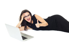 Businesswoman with laptop. Isolated  on a white background Stock Photos