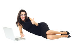Businesswoman with laptop. Isolated  on a white background Royalty Free Stock Image