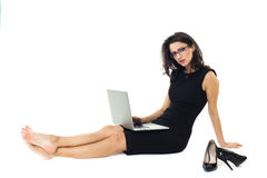 Businesswoman with laptop. Isolated  on a white background Stock Image