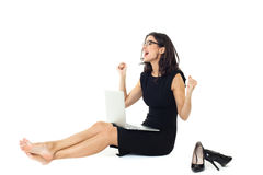 Businesswoman with laptop. Isolated  on a white background Royalty Free Stock Photos