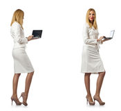 The businesswoman with laptop isolated on white background Stock Photos