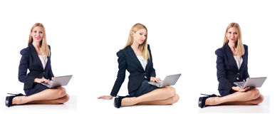 The businesswoman with laptop isolated on white background Royalty Free Stock Image