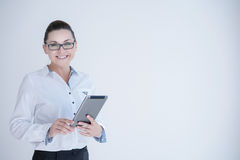 Businesswoman with laptop isolated on a white Stock Photography