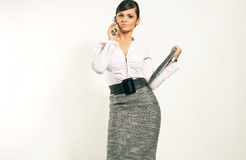 Businesswoman with Laptop and phone Royalty Free Stock Photography