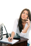Businesswoman laptop talking on the mobile phone Stock Photos