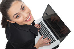Businesswoman with laptop. Stock Image