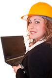 Businesswoman with laptop on work Royalty Free Stock Photography