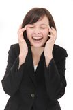 Businesswoman laughing. Isolated on a white background royalty free stock photo