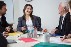 Businesswoman laughing during business meeting Royalty Free Stock Photography