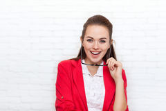 Businesswoman laughing happy smile wear red jacket Stock Photo
