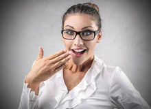 Businesswoman laughing royalty free stock photo