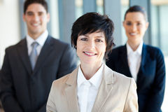Businesswoman leader. Elegant middle aged businesswoman leader and team stock photos