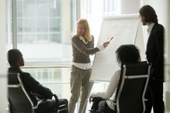 Businesswoman leader or business coach giving presentation to di. Caucasian businesswoman leader or business coach presenting new sales strategy to african royalty free stock photography