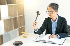 Businesswoman leader of the group in law firm. Corporate and judge court concept woman head royalty free stock photography