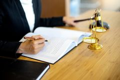 Businesswoman leader of the group in law firm. Corporate and judge court concept woman head stock image