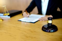 Businesswoman leader of the group in law firm. Corporate and judge court concept woman head stock photos