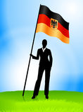 Businesswoman Leader Holding Germany Flag Royalty Free Stock Images