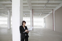 Businesswoman Leaning Against Pillar With Paperwork Royalty Free Stock Photos