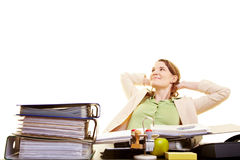 Businesswoman leaning back Stock Images