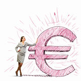 Businesswoman leaning on euro sign Royalty Free Stock Photo