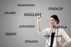 Businesswoman is learning foreign languages. Image of pretty businesswoman writing a word of English, language learning concept Stock Photography