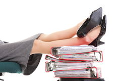 Businesswoman legs pile of ring binders reast break Royalty Free Stock Photography