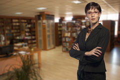 Businesswoman in a library Stock Photography