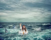 Businesswoman with lifebelt surrounded by sharks asks help. Businesswoman in the ocean with lifebelt surrounded by sharks asks help stock photo