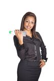 Businesswoman lifting a bottle of water Stock Image