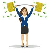 Businesswoman lifts up heavy barbell with dollar sign. Vector illustration for business financial strength concept. Stock Photography