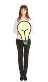 Businesswoman with light bulb Royalty Free Stock Images