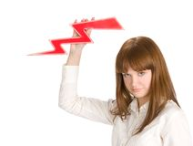 Businesswoman with lightning Royalty Free Stock Photo