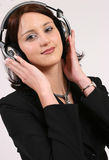 Businesswoman listening to her favorite music stock photo