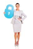 Businesswoman lock symbol Stock Photos