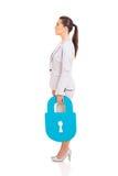 Businesswoman lock symbol Royalty Free Stock Photo