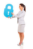 Businesswoman lock symbol Royalty Free Stock Photography