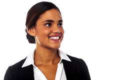 Businesswoman looking away with a smile on face Stock Images