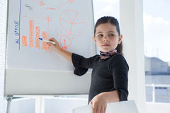 Businesswoman looking away while writing on whiteboard during meeting Royalty Free Stock Photo