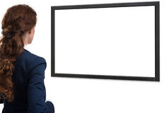 Businesswoman looking on blank screen. rear view Stock Photography