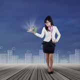 Businesswoman looking business chart Stock Photo