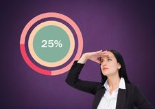 Businesswoman looking with colorful chart statistics at 25 percent. Digital composite of Businesswoman looking with colorful chart statistics at 25 percent Stock Photography